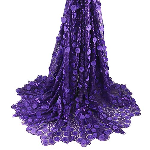 Aisunne African Lace Fabrics 5 Yards Nigerian French Lace Fabric with 3D Flower Fashion Embroidered Beading and Sequin for Wedding Party Dresses (Purple)