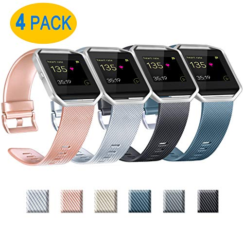 Yandu Replacement Straps Compatible with Fitbit Blaze, Not Included Fitbit Blaze and Frame (03 Rosegold+Silver+Black+Slate, L)