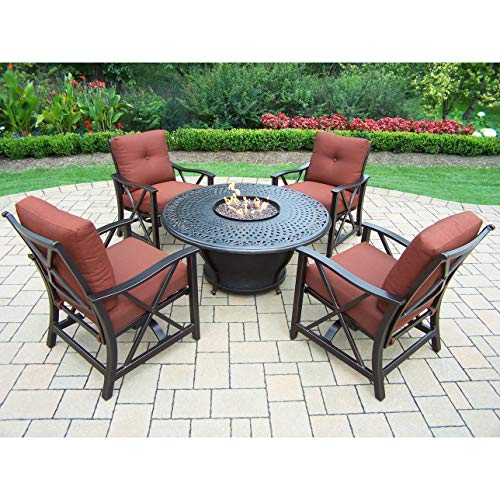 Best Review Of Oakland Living Corporation Premium Carolton 5-Piece Chat Set with 48-inch Round Fire ...