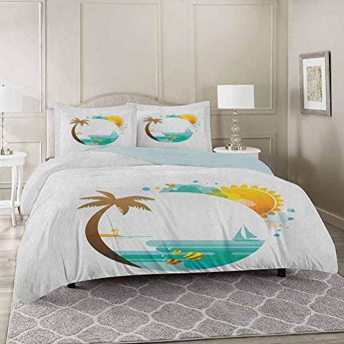 YUAZHOQI Beach Washed Duvet Cover Set with Zipper Closure Queen, Tropical Paradise Summer Season Palm Tree Silhouette with Fish and Sun Ultra Soft Hypoallergenic Comforter Cover Sets