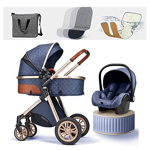 JIAX Sistema De Viaje para Cochecito De Bebé 3 En 1, Cochecito Plegable Cómodo para Recién Nacidos,Funda para La Lluvia Saco De Dormir Manta Mosquitera Asiento De Coche Cochecito (Color : Blue)