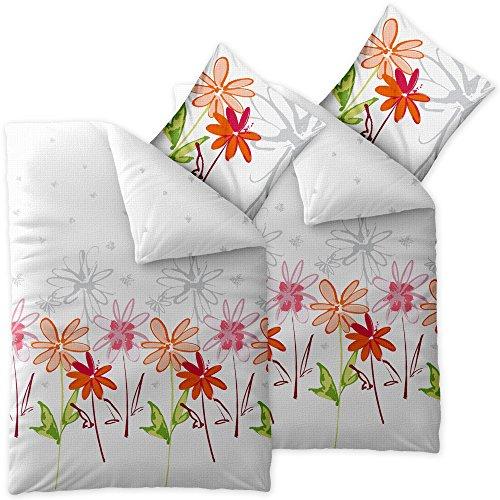 CelinaTex Enjoy Bettwäsche 135 x 200 cm 4teilig Baumwolle Bettbezug Seersucker Ayana Blumen Weiß Rot Grün