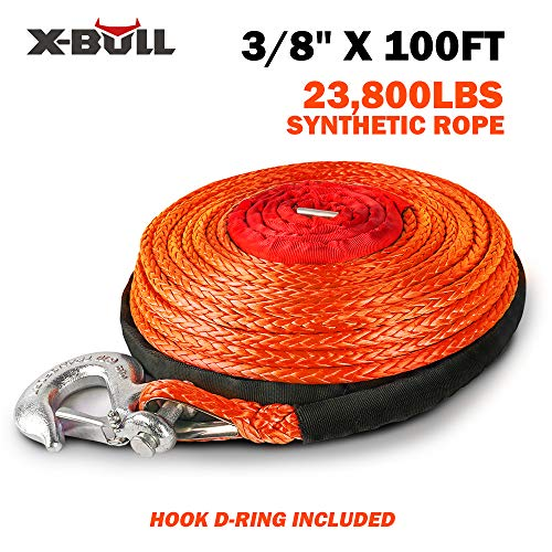 """X-BULL SK75 3/8"""" x 100ft Dyneema Synthetic Winch Rope with Hook Car Tow Recovery Cable(23,809 Lbs,Orange)"""