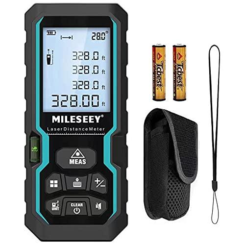 Misuratore Laser 100M,RockSeed IP54 Metro Laser con Sensore Angolare Elettronico Misurazione Digitale Portatile Della Distanza con Livella a Bolla,Misuratore di Distanza Laser Display LCD a 4 Righe