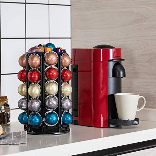 Bagoo Coffee Pod Carousel Holder for Nespresso Vertuoline 360 Degree Rotation with Central Additional Storage Vertuo Capsules (40+)
