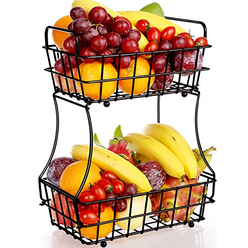 TomCare 2-Tier Fruit Basket Metal Fruit Bowl Bread Baskets Detachable Fruit Holder kitchen Storage Baskets Stand - Screws Free Design for Fruits Breads Vegetables Snacks, Bronze