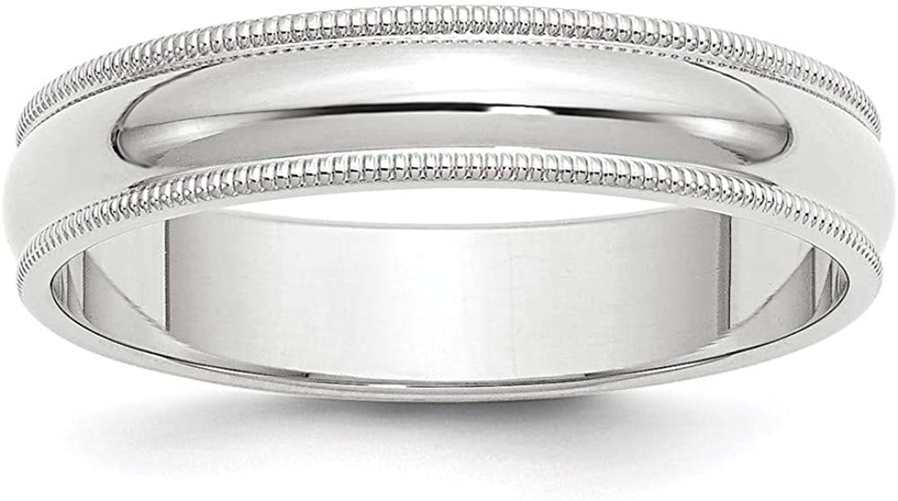 10 White Gold 5mm Milgrain Half Round Wedding Ring Band Size 9.5 Classic Fashion Jewelry For Women Gifts For Her