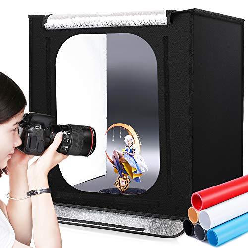 撮影ボックス SAMTIAN 60x60x60cm 6*背景布(黒、白、青、赤、黄色、グレー) 調光器付き プロな撮影キット 126PCS5500K超高輝度ライト付き 明るさを調整可能 CRI 95以上 折り畳み式&携帯型&組立簡単&収納便利)