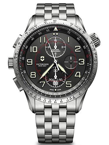Victorinox Herren Airboss Mach 9 Chronograph Black Edition - Swiss Made Automatikuhr aus Edelstahl 241717