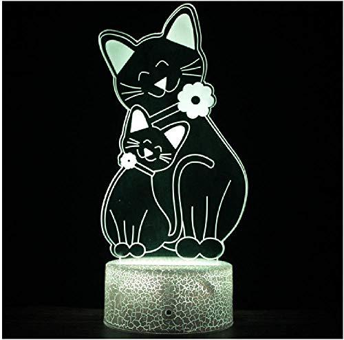 Enamorarse Luz colorida 3D Dos gatos Acurrucarse Luces acrílicas táctiles Lámpara de noche con gradiente LED Amantes de la iluminación de control remoto