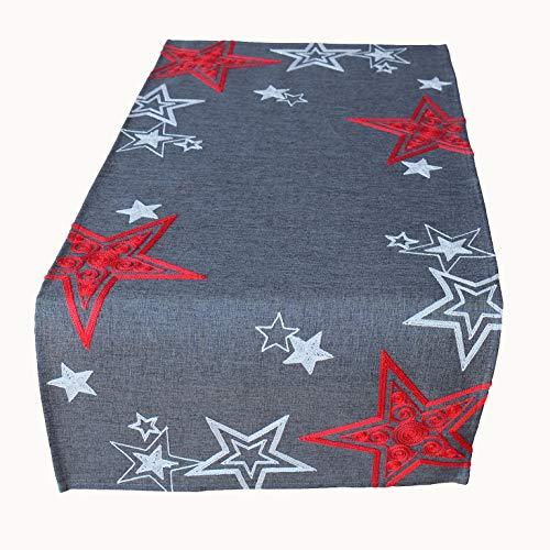 Kamaca Läufer Sternen Zauber in anthrazit mit Bezaubernder Stickerei in rot und Silber - EIN Eyecatcher in Herbst Winter Weihnachten (Tischläufer 40x85 cm grau Silber rot)