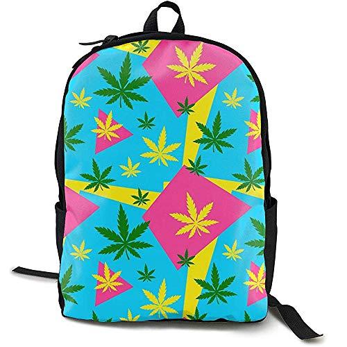 Marihuana Green Weed Dope Pink Blue Bookbag Casual Bolsa de Viaje para Adolescentes niños niñas