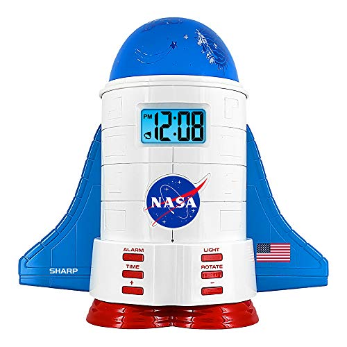 Sharp NASA Space Shuttle Night Light Alarm Clock – Wings and Booster Lights Up – Space Design Nightlight Fun with 4 Color Options and 2 Space Themes for Bedroom, Great Gift!