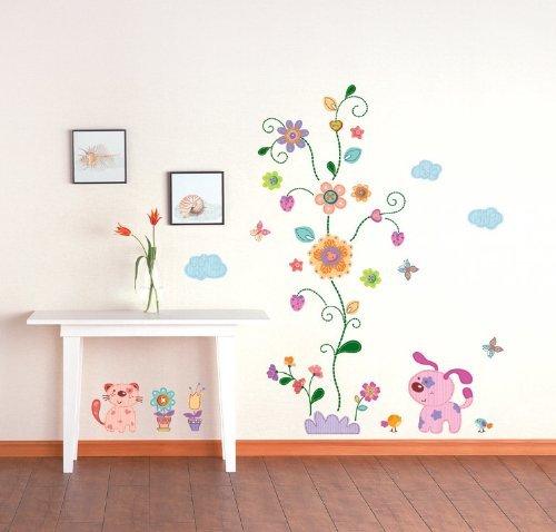 KINDERZIMMER WANDSTICKER - Aufkleber, Möbelsticker, Fensterbilder - Hund, Katze, bunte Blumen - aus USA