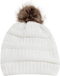 PASATO Sale!Women Winter Warm Crochet Knit Faux Fur Pom Pom Beanie Hat Cap hat for women winter fashion