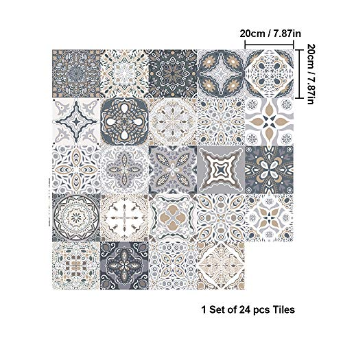 panthem 24Pcs Fliesenaufkleber Mosaik, Klebefolie Fliesen Selbstklebend Deko Küche Bad (20 * 20cm)
