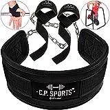 C.P.Sports Set Dip-Gürtel + Zughilfe schwarz, Dipgürtel, Dipping Belt, Klimmzug Gürtel, Lifting Straps für Bodybuilding, Fitness & Kraftsport