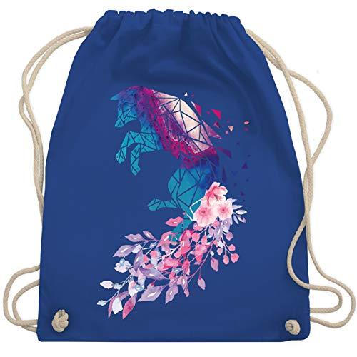 Shirtracer Sonstige Tiere - Fuchs mit Blumen - Unisize - Royalblau - Geschenk - WM110 - Turnbeutel und Stoffbeutel aus Baumwolle