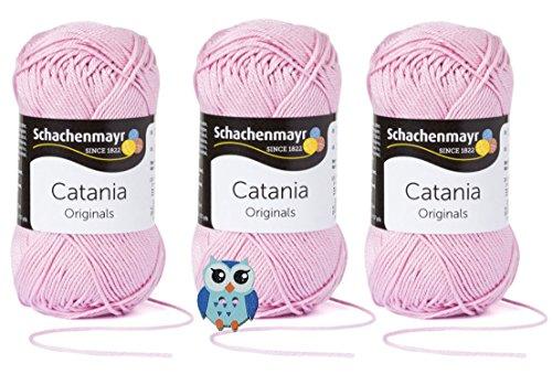 Schachenmayr Catania Wolle 3x50 Gr, 100% Baumwolle + 1 Eulen Knopf (Farbreihe 200-299) (246 Rosa)