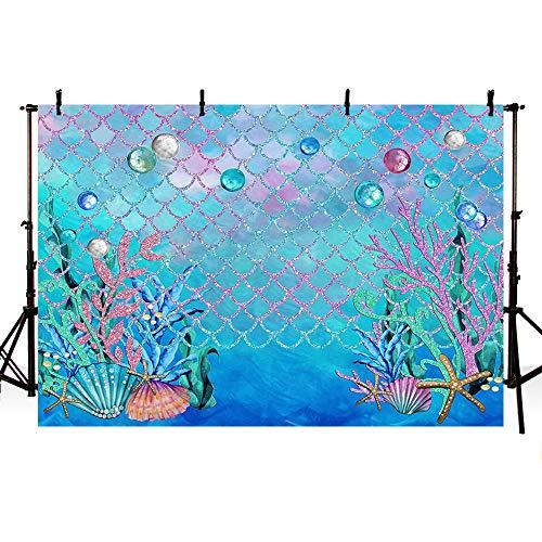 MEHOFOTO fundo de fotografia azul marinho tema sereia oceano menina decoração de festa de aniversário pérolas estrela-do-mar tema oceano chá de bebê foto cabine de estúdio fundo banner, Under Sea, 8x6ft