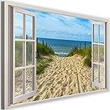 Photo sur Toile XXL Fenetre Art Image Déco Plage Mer Nature Multicolore 120x80 cm