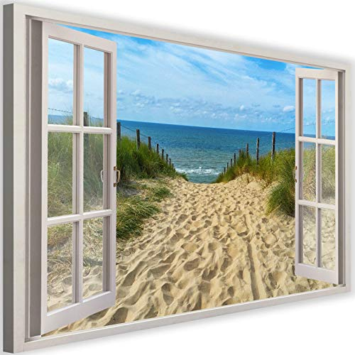 Feeby Home Decor Picture on Canvas 120x80 cm 3D Window View Image Decor Seaside Beach