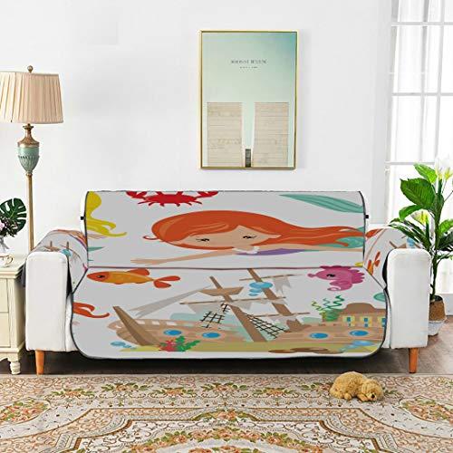 Conjunto de Hermosa Sirena con Animales Sillón Lounge Slipcover Reclinable Sofá Cojín Fundas de sofá para sofá de 45'(114 cm) Proteger de niños Perros Mascotas