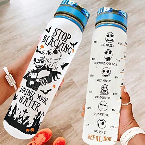 Sportflasche Groß Trinkflasche BPA Frei für Fitness Gym Heim Büro Outdoor Wasserflasche Weihnachten Halloween Geschenk blanco 1000ml