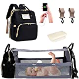 Diaper Bag Backpack with Changing Station Bed Baby Bags Travel Bassinet for Girls Boys Baby Stuff Crib Nappy Bag with Mat Pat for Mom Dad Waterproof Multi-Function Foldable Large Capacity