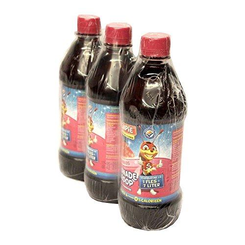 Slimpie Limonade Siroop Framboos 3 x 580ml Flasche (Getränke-Sirup Himbeere, Zuckerfrei)