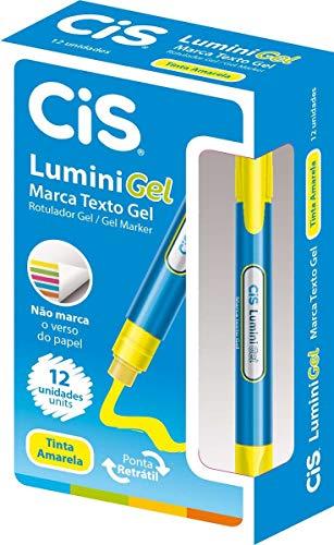 Marca Texto Lumini Gel, CIS 55.0400, Amarelo, Pacote de 12