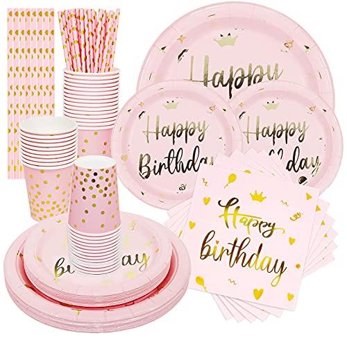 NINEFO Piatti Bicchieri Festa Compleanno, 120 Piatti Carta Rosa, Tovaglioli, Bicchieri di Carta e Cannucce, Adatti per Forniture per Feste di Compleanno di Bambini, Ragazze e Donne
