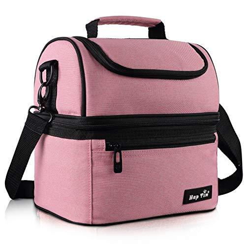 borsa termica rosa Borsa Termica Borsa Pranzo con Tracolla Grande Capacità Borsa Termica pasto per la a scuola -Rose (UK-LB-16040-PK)