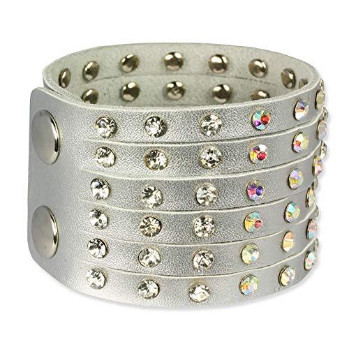 SilberDream Lederarmband silbern Damen Leder Armband mit Zirkonia Nieten Echtleder LAC221K