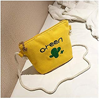 YKDY Shoulder Bag Cactus Pattern Leisure Fashion Canvas Slant Shoulder Bag (Black) (Color : Yellow)