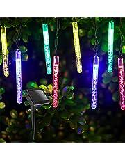 Aigostar led-lichtsnoer op zonne-energie multi color, 5.8 M, Solar snoer verlichting, 20 Waterdichte LED bubble bars, Kerstverlichting voor buiten, voor Tuin, balkon, veranda, feestjes.