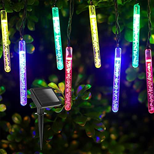 Aigostar - Guirnalda de luz LED solar, 5,8 metros 20 bombillas con forma de tubo color rojo, azul,...
