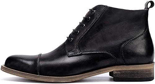 ZHRUI Stiefel Chukka de Cuero Genuino con Cordones para herren Stiefel duraderas con Suela Blanda Antideslizante (Farbe   schwarz, tamaño   EU 42)