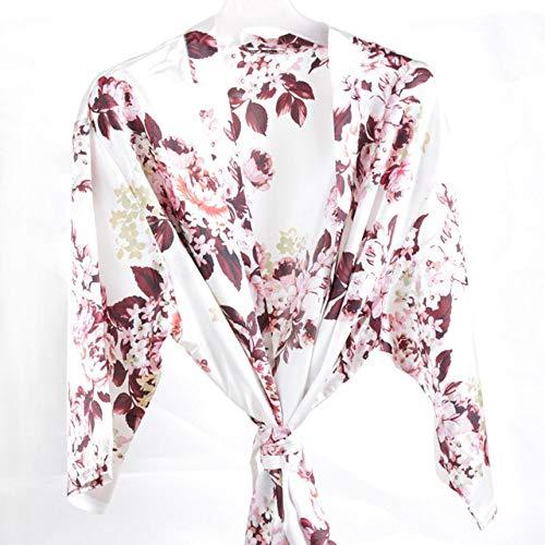 YRTHOR Albornoz Floral para Mujer, Bata de Kimono Corta de satén de Seda, Vestido de Noche, Toalla, Bata de baño, Boda, Novia, Bata de Dama de Honor, Ropa para el hogar,Blanco,XL