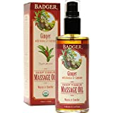 Badger - Deep Tissue Massage Oil, Ginger with Arnica & Cayenne, Certified Organic Massage Oil, Warm & Soothe, Massage Oil for Sore Muscles, Essential Oils, 4 oz