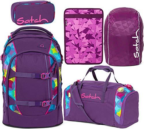 Satch Pack Sunny Beats 5er Set Schulrucksack, Sporttasche, Schlamperbox, Heftebox & Regencape Lila