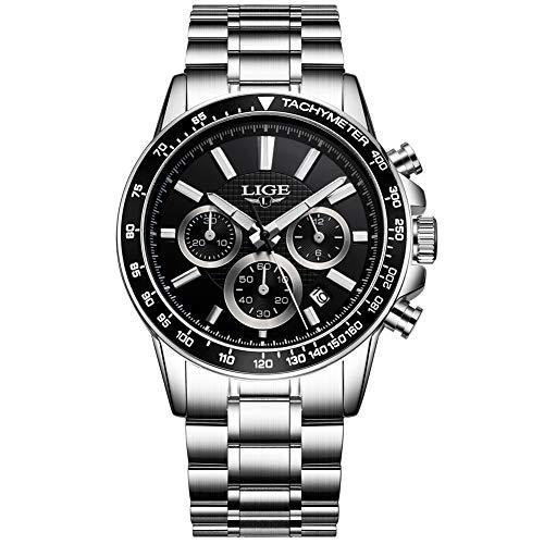 Relojes para Hombre Acero Inoxidable Impermeable Reloj Hombres Marca LIGE Cronógrafo...