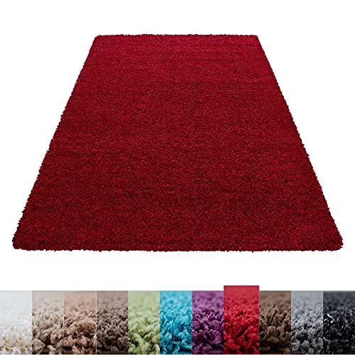 Hochflor Langflor Wohnzimmer Hochwertiger Shaggy Teppich Unifarbe Florhöhe 5cm - Rot, 120x120 cm R&