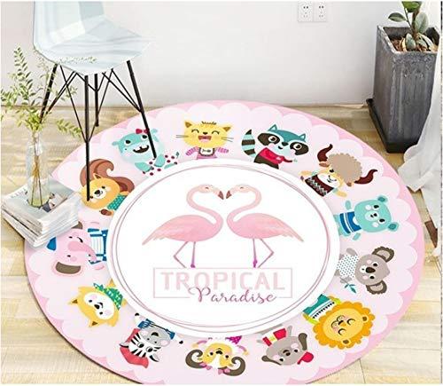 Heart-Shaped Flamingo Round Carpet Living Room Coffee Table Wear-Resistant Polyester Carpet Bedroom Balcony Non-Slip Carpet120Cm