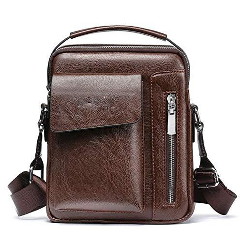 Yi-xir Ladies' favorite bag Mens Business Fooling Shoulder Track Body Messenger PU Leather Handbag Travel Bag Diagonal bag backpack (Color : Brown, Size : XL)
