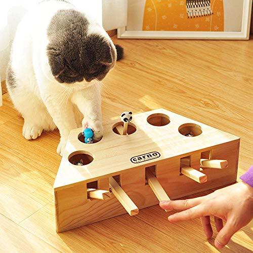 Volwco Katzenspielzeug, interaktives Spielzeug, Holz, massives Maulwurfspiel, Puzzle-Spielzeug