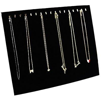 Ogrmar Black Velvet 17 Hook Necklace Jewelry Tray/Display Organizer/Pad/Showcase/Display case (17 Hook Necklace Display)
