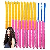 20 Pcs Magic Hair Curlers Spiral Curls Styling Kit, No Heat Hair Curlers and 1 Styling Hooks for Extra Long Hair Up To 22 (20PCS)