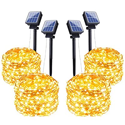 Outdoor Solar String Lights, 4 Pack 33FT 100 LED Solar Powered Fairy Lights with 8 Lighting Modes Waterproof Copper Wire Lights for Patio Yard Trees Christmas Wedding Party Decor (Warm White)