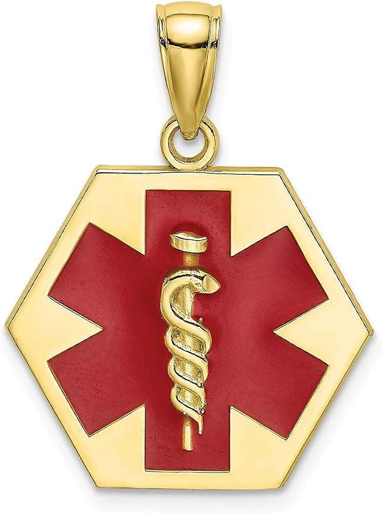 5% OFF 10k Yellow Direct sale of manufacturer Gold Enameled Medical Disc Neckla Charm Alert Pendant